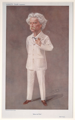 Twain caricatured by Spy for Vanity Fair, 1908