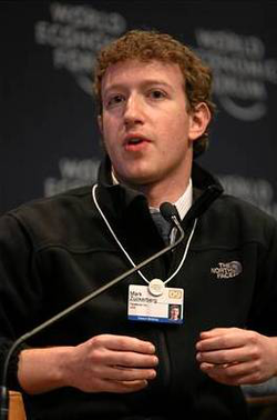 Mark Zuckerberg at the World Economic Forum in Davos, Switzerland (January 2009).