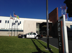 The                                 Rampart Division                                police station.