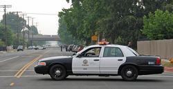 An LAPD patrol car in the North Hills