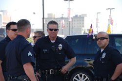 LAPD officers patrolling at the                                 Staples Center