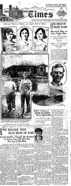 Partial front page of the Los Angeles Times for Monday, April 24, 1922, displaying coverage of a Ku Klux Klan raid in an L.A. suburb
