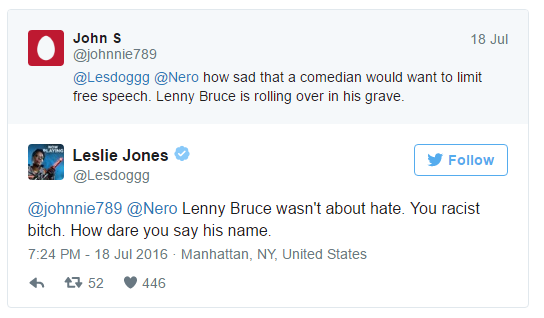 "Controversial tweet where Leslie Jones calls a Milo supporter a ""racist bitch"""