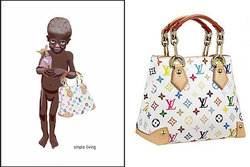 """Simple Living"" image (left) and Vuitton's Audra bag, created by Takashi Murakami (right)"