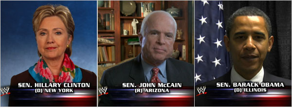 Hillary Clinton, John McCain, and Barack Obama making televised appearances on WWE during the 2008 Presidential election