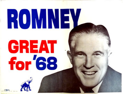 Mitt's father George (pictured here in a 1968 poster) lost the Republican presidential nomination to                                 Richard M. Nixon                                and later was appointed to the                                 Nixon cabinet                                .