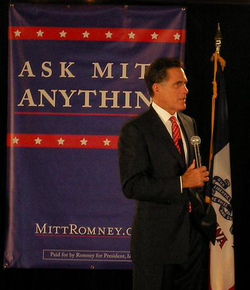 "Holding an ""Ask Mitt Anything"" session in                                 Ames                                ,                                 Iowa                                , in May 2007"