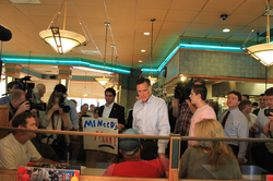 Romney making an appearance in                                 Livonia, Michigan                                , days after his June 2011 formal campaign announcement