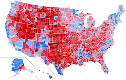 County-by-county results of the election, shaded by percentage won: Obama in blue, Romney in red