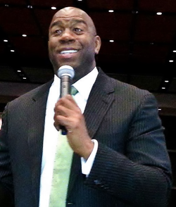 Johnson giving a speech at the                                 George R. Brown Convention Center                                in                                 Houston, Texas                                on April 25, 2013.