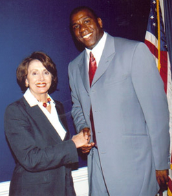 In 2003, Johnson met with                                 Nancy Pelosi                                to discuss federal assistance for those with                                 AIDS                                .