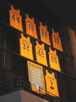 Johnson's number 32 jersey was retired by                                 the Lakers                                in 1992.