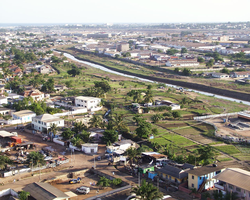 Most of Angelou's time in Africa was spent in Accra, Ghana, shown here in 2008.