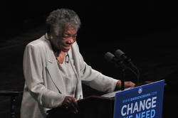 Maya Angelou speaking at a rally for Barack Obama, 2008