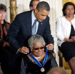 President Barack Obama presenting Angelou with the Presidential Medal of Freedom, 2011
