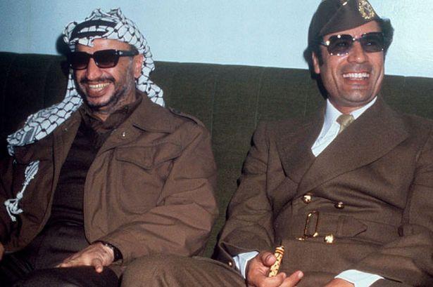 Gaddafi with Yasser Arafat in 1977