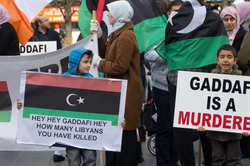 People protesting against Gaddafi in Dublin, Ireland, March 2011