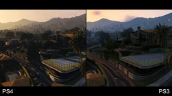 A comparison of the PlayStation 4 (left) and PlayStation 3 (right) versions of the game. The enhanced re-release features greater draw distances and higher-resolution textures than the original versions.
