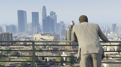 Los Santos, the city featured in the game's open world. Reviewers praised its design and similarity to Los Angeles. The departure from Grand Theft Auto IV's Liberty City was also well received.