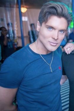 In a blue shirt