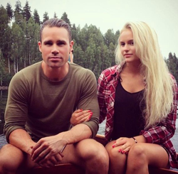 Picture of Anna Nyström's boyfriend and Anna on vacation in northern Sweden.