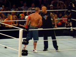 The Rock and John Cena agreeing to a match at WrestleMania XXVIII, one year in advance
