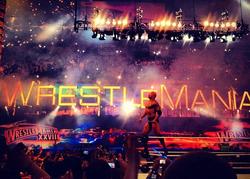 The Rock celebrating his victory at WrestleMania XXVIII