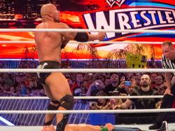 The Rock preparing to execute the People's Elbow on John Cena at WrestleMania XXVIII