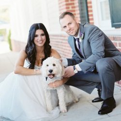 Chris Owings with his newly wedded wife Brittany, and their dog