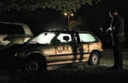 "Photograoh of her 1992 Honda Civic after she vandalized it and spraypainted it. The word ""Kike"" is visible in black spraypaint"