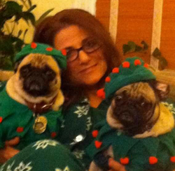 With her pugs