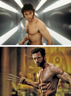 Hugh Jackman as wolverine early and later.[2]