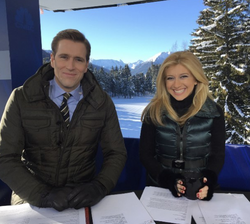 Photo of Sara Eisen and her co-anchor Wilfred Frost reporting from Davos​