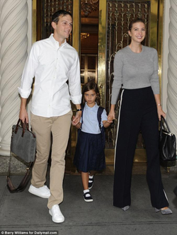 Arabella stepping out of her family's Upper East Sideapartment with her parents (presumably on her way to school)