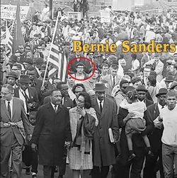 Bernie Sanders marching with Martin Luther King Jr.