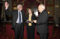 Sanders being sworn in as a                                 U.S. senator                                by then Vice President                                 Dick Cheney                                in the                                 Old Senate Chamber                                , January 2007