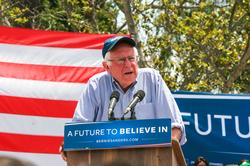 Sanders speaking at a rally in                                 East Los Angeles, California                                , May 2016