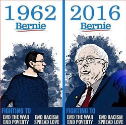A young and old Bernie Sanders.