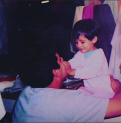 A young Camila Cabello with her father, Alejandro Cabello