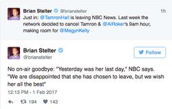 Announcement of Tamron leaving NBC News.