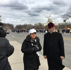 Teresa interviewingFr. Chad Hatfield, Chancellor of St. Vladimir's seminary at the March for Life
