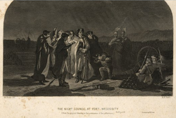An engraving depicting the evening council of George Washington at Fort Necessity