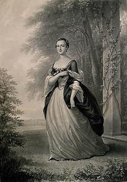 A                                 mezzotint                                of                                 Martha Washington                                , based on a 1757 portrait by                                 Wollaston
