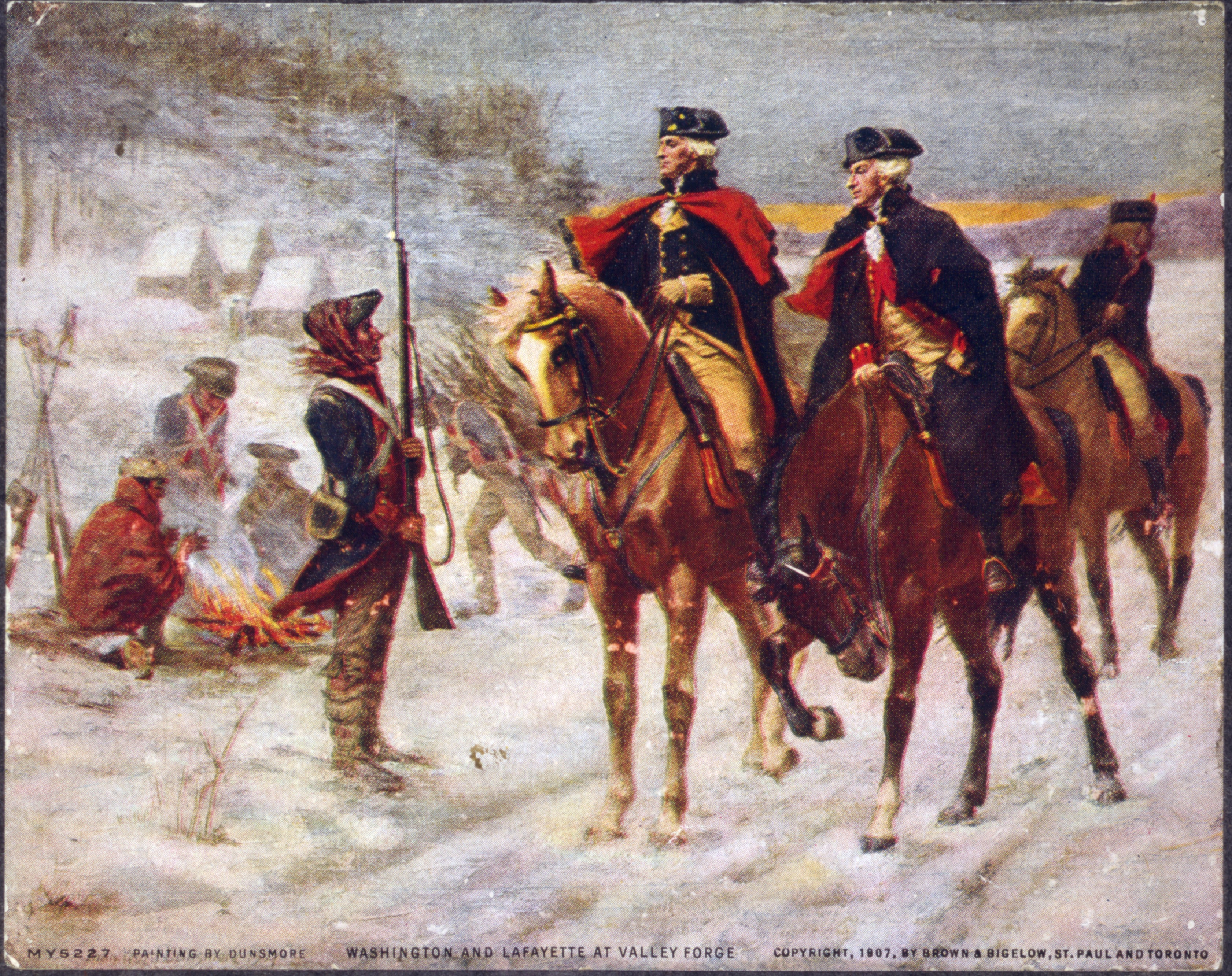 General Washington and Lafayette look over the troops at Valley Forge.