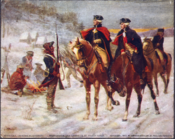 General                                Washington and                                 Lafayette                                look over the troops at                                 Valley Forge                                .