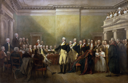 General                                  George Washington Resigning His Commission                                by                                 John Trumbull                                ,                                 Capitol Rotunda                                (commissioned 1817)
