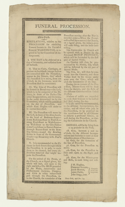 Published regulations for the funeral procession in honor of Washington (in New York City)