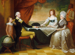 The Washington Family                                                 by                                 Edward Savage                                , painted between 1789 and 1796, shows (from left to right):                                 George Washington Parke Custis                                , George Washington,                                 Eleanor Parke Custis                                ,                                 Martha Washington                                , and an enslaved servant: probably                                 William Lee                                or                                 Christopher Sheels                                .