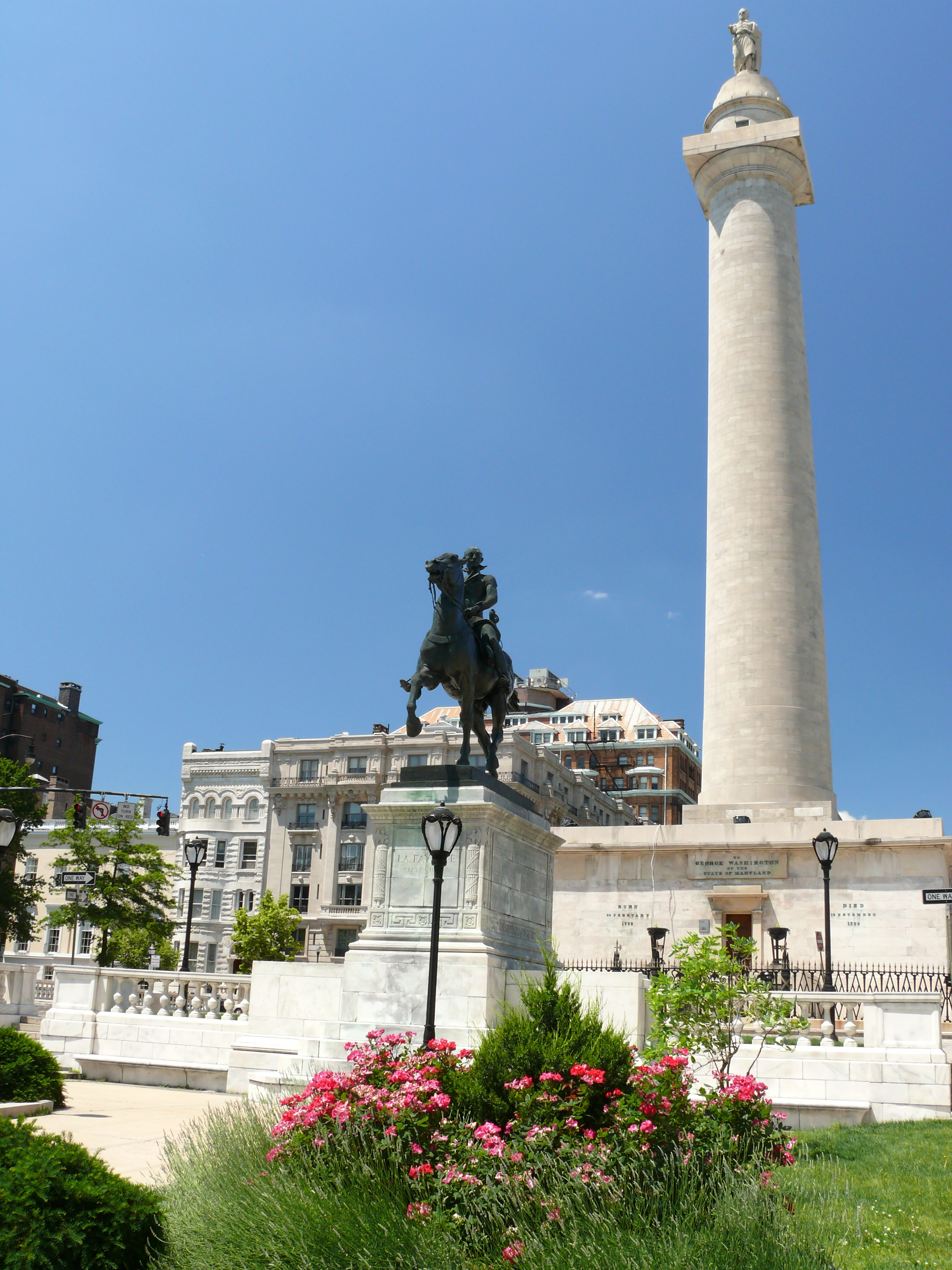 The first Washington Monument, in Baltimore, Maryland