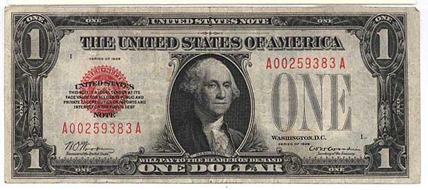 George Washington on the1928 dollar bill.
